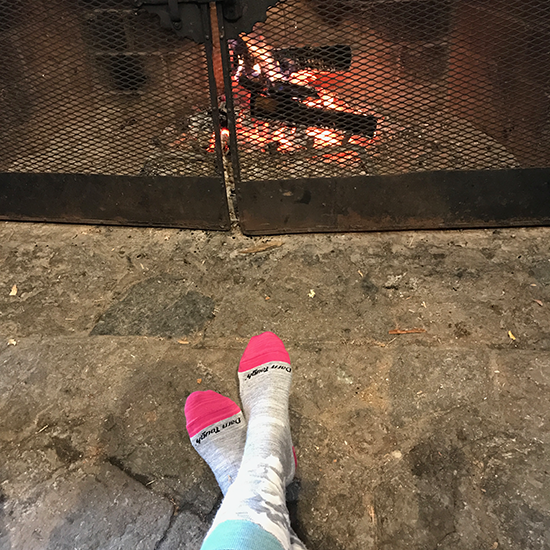 Warming my Feet by the Fire in the Lodge